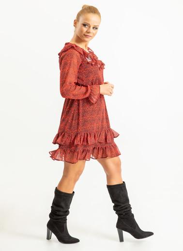 Foremia Yakası Fırfırlı Çıtır Desen Şifon Elbise Kırmızı